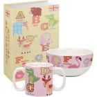 Little Rhymes Animal Alphabet Collection 2-Piece Set Pink Alphabet