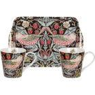 Buy Pimpernel William Morris Strawberry Thief Brown Mug Pair & Tray Set at Louis Potts
