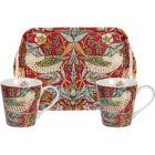 Buy Pimpernel William Morris Strawberry Thief Red Mug Pair & Tray Set at Louis Potts