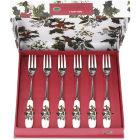 Buy Portmeirion The Holly and The Ivy Pastry Fork Set of 6 at Louis Potts