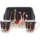 Buy Sara Miller Christmas Collection Mug Pair & Tray Set Christmas Geese at Louis Potts