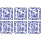 Buy Spode Blue Italian Square Coasters 10cm Set of 6 at Louis Potts