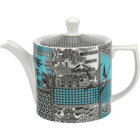 Buy Spode Patchwork Willow Teapot Teal at Louis Potts