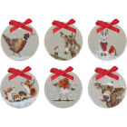 Buy Wrendale Christmas Christmas Decoration Grey Set Of 6 at Louis Potts