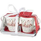 Buy Wrendale Christmas Mug Pair & Tray Set Flamingo Flamingle Bells at Louis Potts