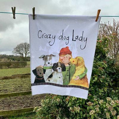 Alex Clark Tea Towels Tea Towel Crazy Dog Lady