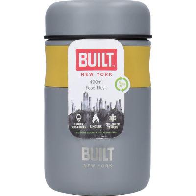 Built Hydration Food Flask Mustard Yellow & Grey