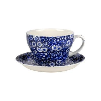 Burleigh Blue Calico Breakfast Cup & Saucer