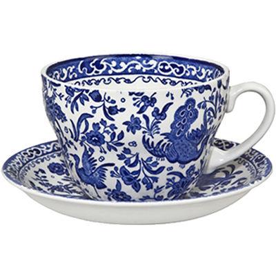 Burleigh Blue Regal Peacock Breakfast Cup & Saucer