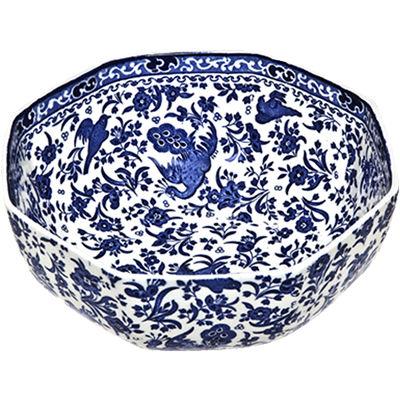 Burleigh Blue Regal Peacock Octagonal Bowl Medium