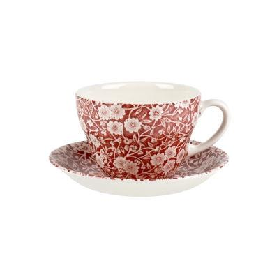 Burleigh Red Calico Breakfast Cup & Saucer