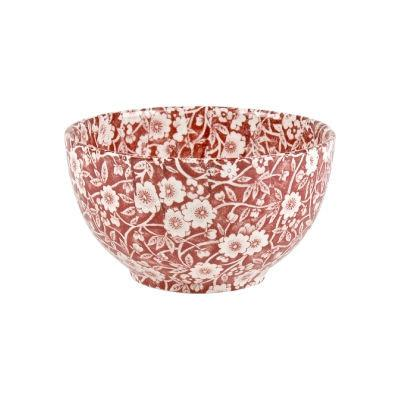 Burleigh Red Calico Open Sugar Bowl Large
