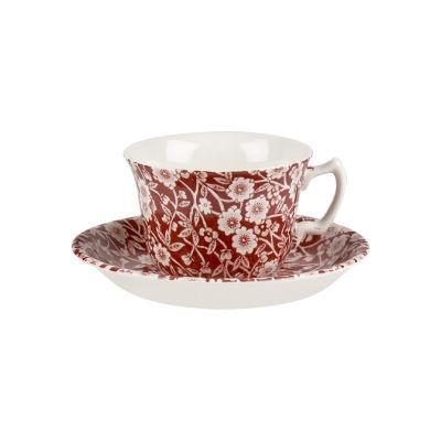 Burleigh Red Calico Teacup & Saucer