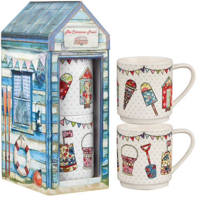 Caravan Trail Caravan Trail Mugs Stacking Mug Set of 2 Beach Huts Festival