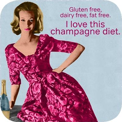 Cath Tate Photocaptions Coasters Champagne Diet Coaster