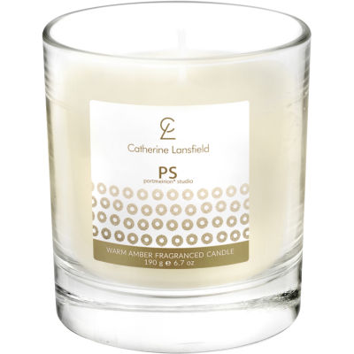 Catherine Lansfield Wax Filled Glass Candle Glamour Sequin Gold