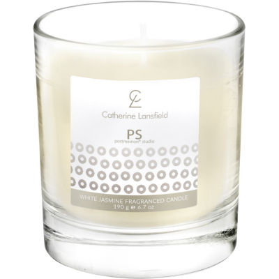 Catherine Lansfield Wax Filled Glass Candle Glamour Sequin Silver