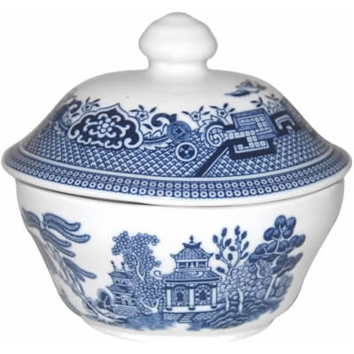 Churchill Blue Willow Covered Sugar Box