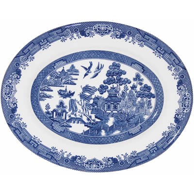 Churchill Blue Willow Oval Platter 31cm