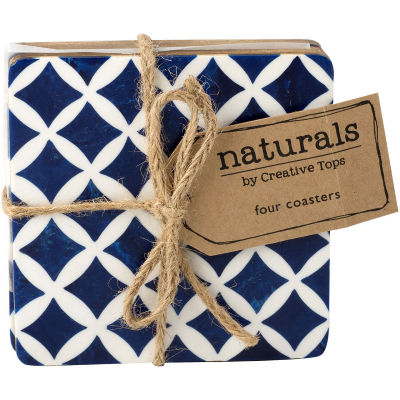 Creative Tops Naturals Blue Resin Coaster Set of 4
