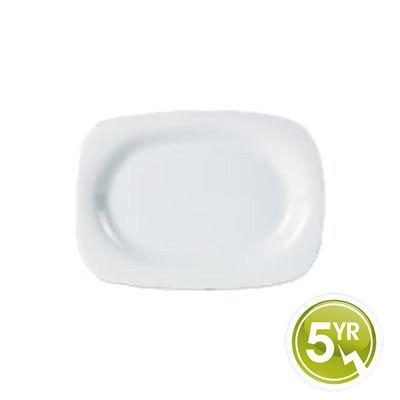 DPS Tableware Porcelite Standard Vitrified Porcelain Rectangular Rimmed Plate 24x18cm