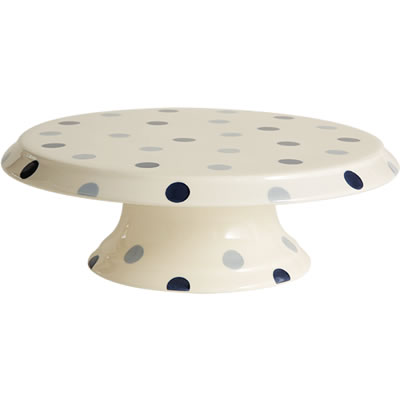 Fairmont and Main Blue Spot Footed Cake Plate