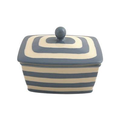 Fairmont and Main Kitchen Stripe & Spot Blue Butter Dish Stripe Blue
