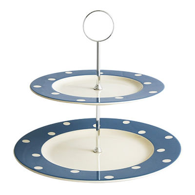 Fairmont and Main Kitchen Stripe & Spot Blue Two-Tier Cake Stand Spot Blue