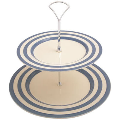 Fairmont and Main Kitchen Stripe & Spot Blue Two-Tier Cake Stand Stripe Blue