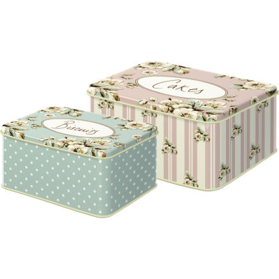 Katie Alice Cottage Flower Stacking Tin Set of 2