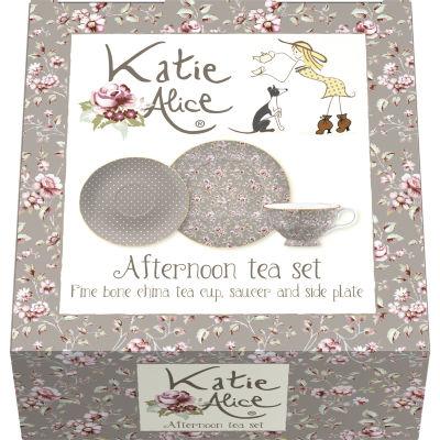 Katie Alice Ditsy Floral Afternoon Tea Set Grey
