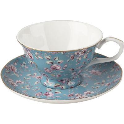 Katie Alice Ditsy Floral Teacup & Saucer Teal