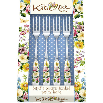 Katie Alice English Garden Pastry Fork Set of 4