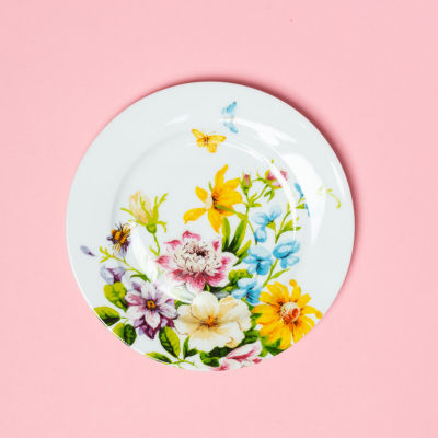 Katie Alice English Garden Side Plate Floral White