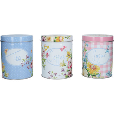 Katie Alice English Garden Storage Tin Set of 3 Tea, Coffee & Sugar