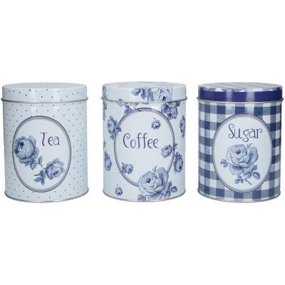 Katie Alice Vintage Indigo Storage Tin Set of 3 Tea, Coffee & Sugar