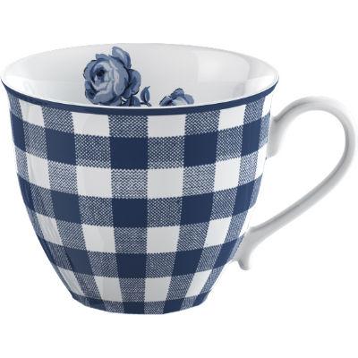 Katie Alice Vintage Indigo Teacup & Saucer Gingham