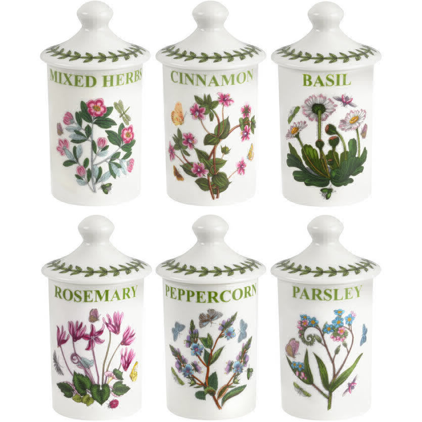 Portmeirion Botanic Garden Spice Jar Set Of 6 Louis Potts