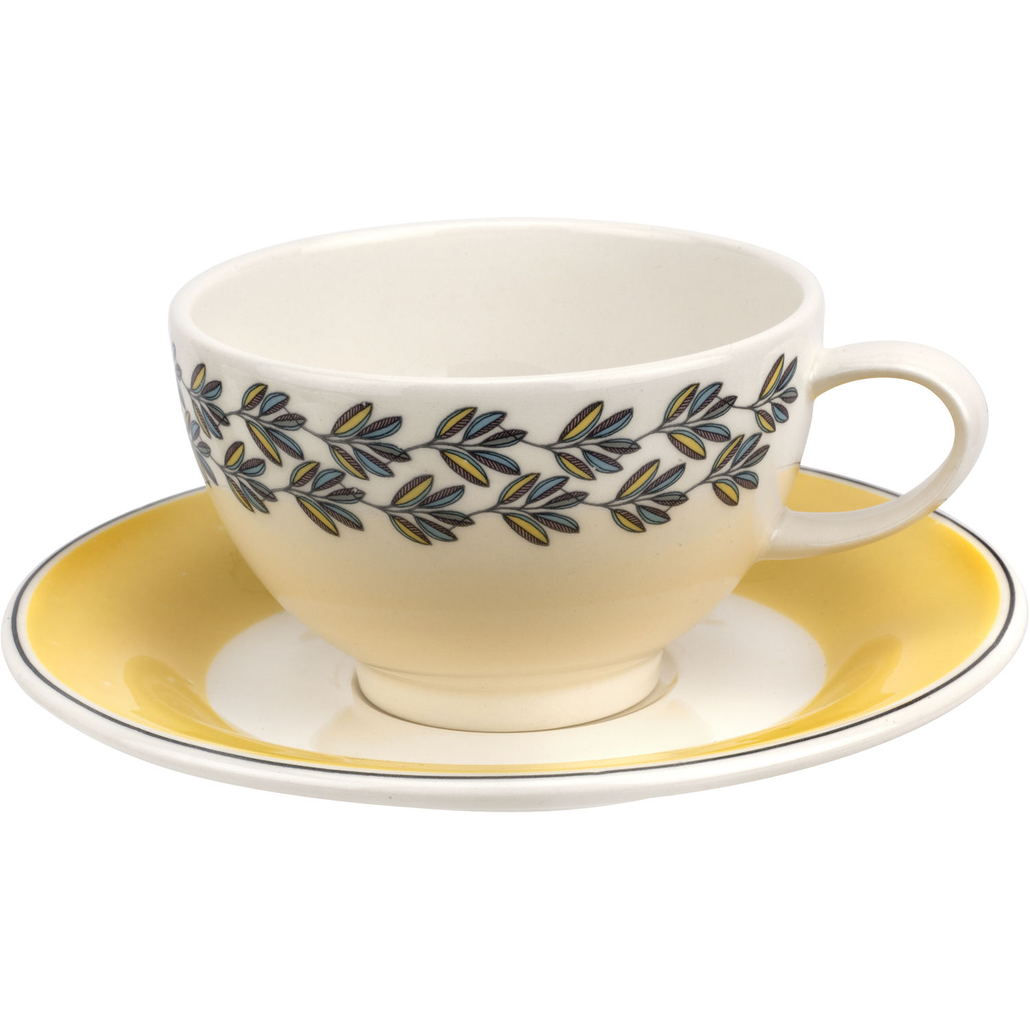 6ef025f9f977 Portmeirion Westerly Tea Cup   Saucer Yellow