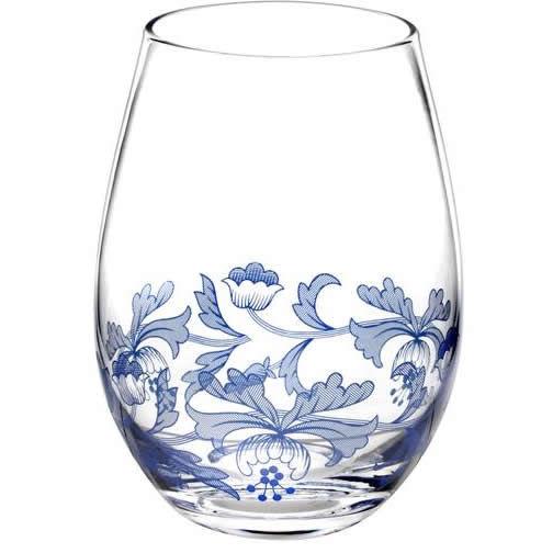 spode blue italian stemless wine glass set of 4