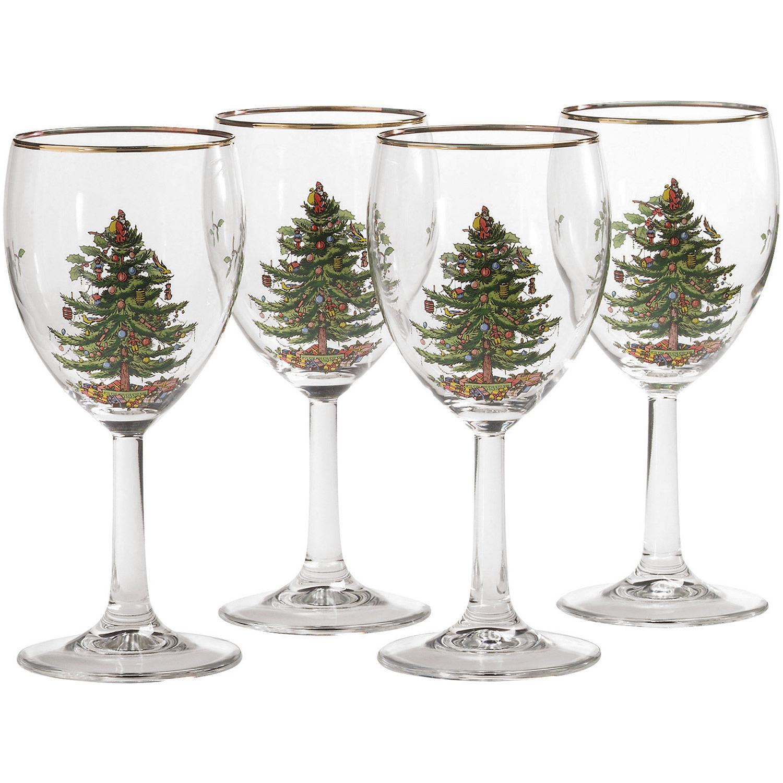 Spode Christmas Tree.Spode Christmas Tree Wine Glass Set Of 4
