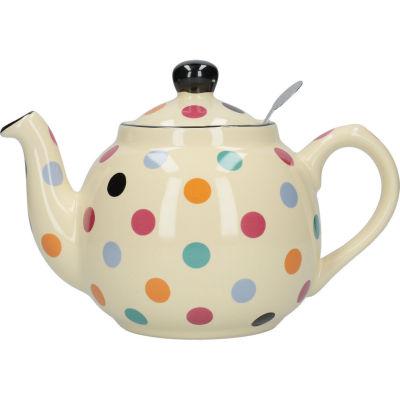 London Pottery Farmhouse Filter 2-Cup Farmhouse Teapot Ivory Multi Spot