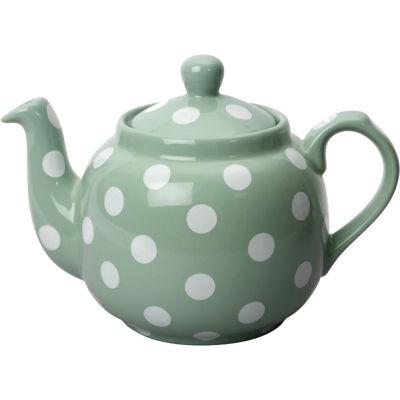 London Pottery Farmhouse Filter 4-Cup Farmhouse Teapot Green White Spot