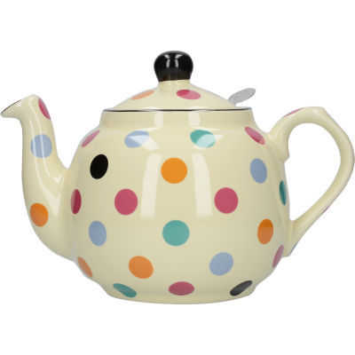 London Pottery Farmhouse Filter 4-Cup Farmhouse Teapot Ivory Multi Spot