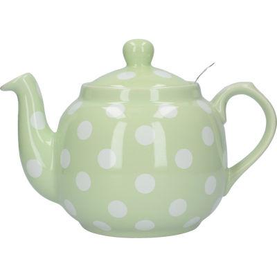 London Pottery Farmhouse Filter 4-Cup Farmhouse Teapot Peppermint White Spot
