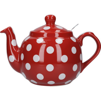 London Pottery Farmhouse Filter 4-Cup Farmhouse Teapot Red White Spot