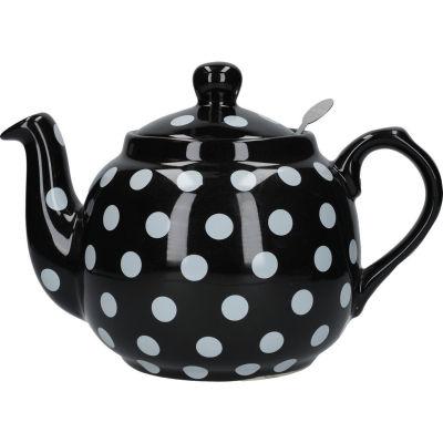 London Pottery Farmhouse Filter 4-Cup Farmhouse Teapot White Black Spot