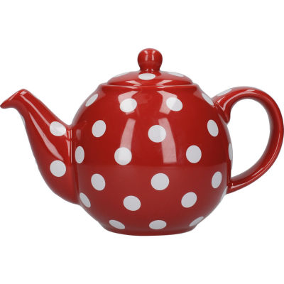 London Pottery Globe 2-Cup Teapot Red White Spot