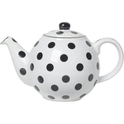 London Pottery Globe 2-Cup Teapot White Black Spot