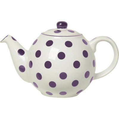 London Pottery Globe 4-Cup Teapot Ivory Aubergine Spot